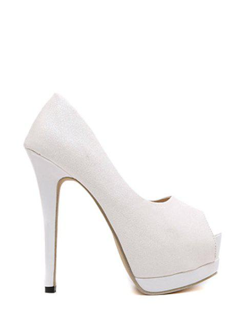 affordable Sequined Cloth Platform Peep Toe Shoes - WHITE 38 Mobile