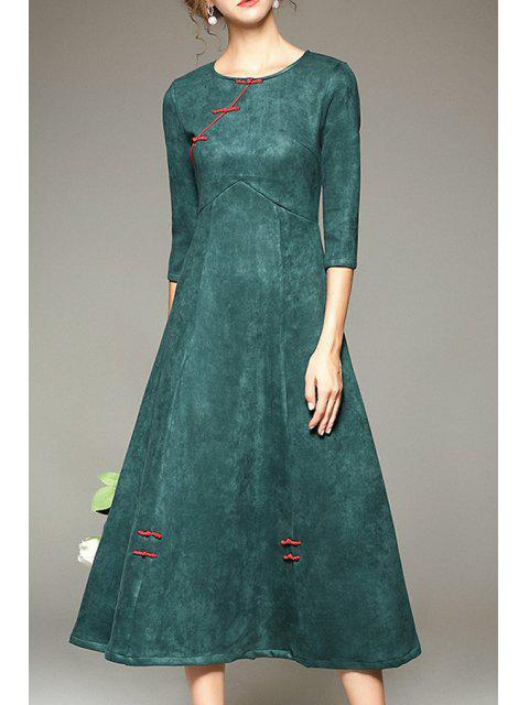 fancy Pure Color Vintage 3/4 Sleeve Dress - GREEN S Mobile