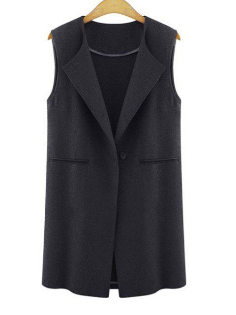 fancy One Button Solid Color Wool Waistcoat - BLACK 3XL Mobile