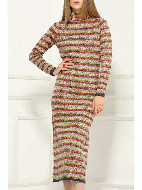 hot Stripe Stand Neck Long Sleeve Sweater Dress - YELLOW 2XL Mobile