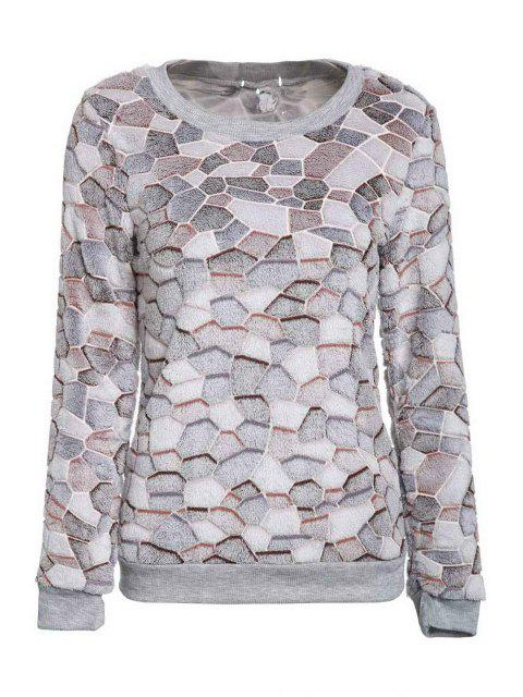 outfit Color Mix Round Neck Long Sleeve Sweatshirt - GRAY XL Mobile