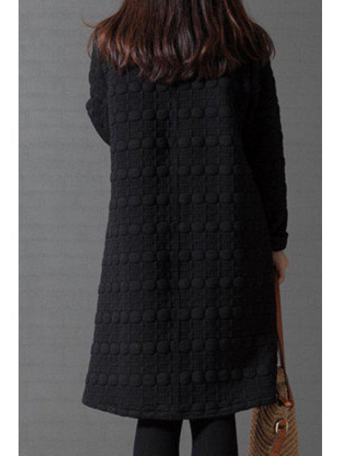 shop Turtleneck A-Line Thermal Dress - BLACK M Mobile