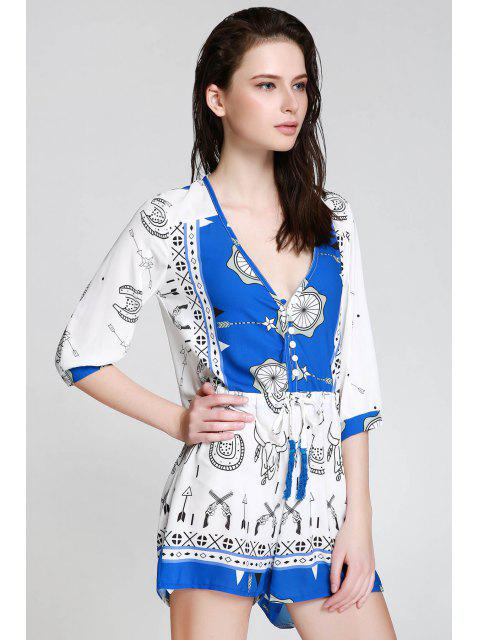 best Ethnic Print Plunging Neck 3/4 Sleeve Playsuit - BLUE AND WHITE S Mobile