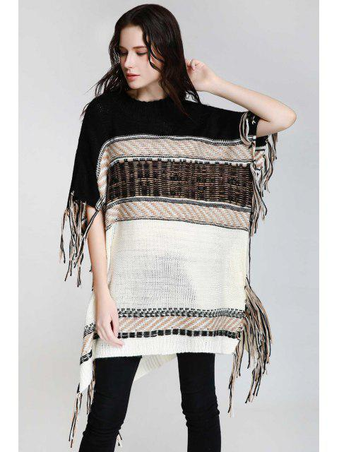 new Asymmetrical Fringe Batwing Sleeve Sweater - WHITE AND BLACK S Mobile