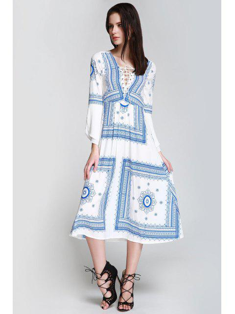 ladies Floral Print Tie Up Long Sleeve Dress - BLUE AND WHITE S Mobile