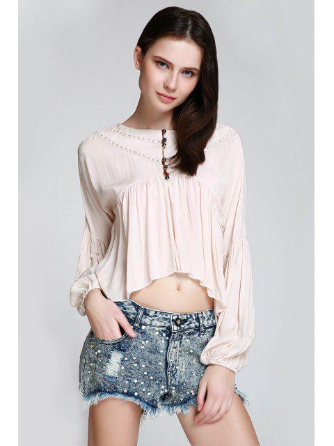 women's Asymmetrical Smock Blouse - KHAKI M Mobile