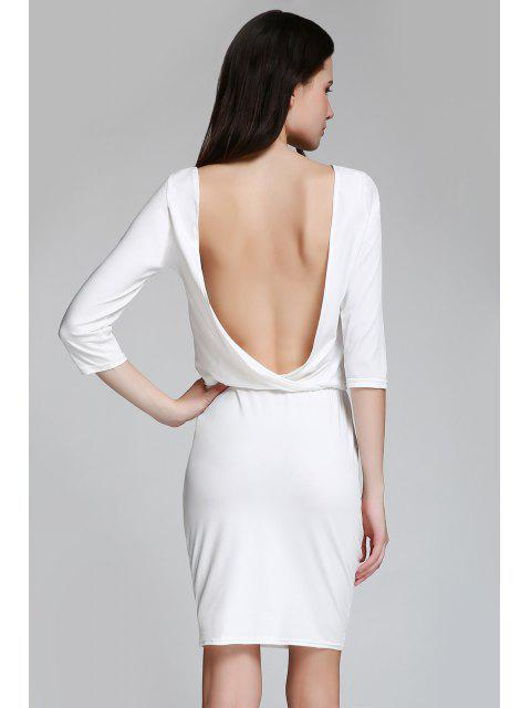 hot Open Back 3/4 Sleeve Bodycon Dress - WHITE M Mobile