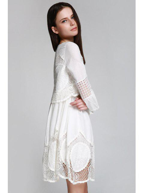 outfits Hollow White 3/4 Sleeve Dress - WHITE M Mobile