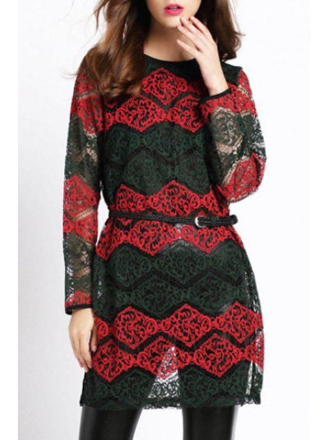 ladies Lace Hook Round Neck Long Sleeve Dress - RED L Mobile