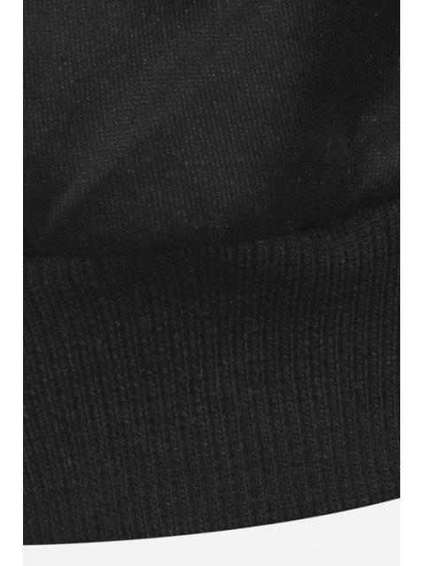 hot Lip Print Long Sleeve Black Sweatshirt - BLACK L Mobile