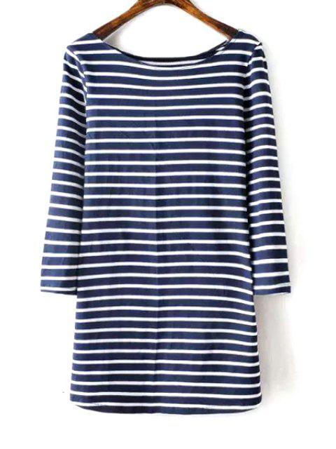 T-shirt rayé à manches 3/4 à encolure rayé - Bleu et Blanc L Mobile