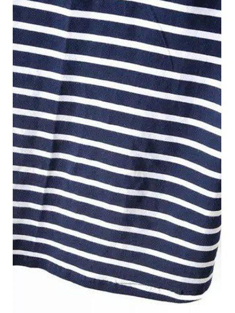 outfits Striped Boat Neck 3/4 Sleeve T-Shirt - BLUE AND WHITE L Mobile