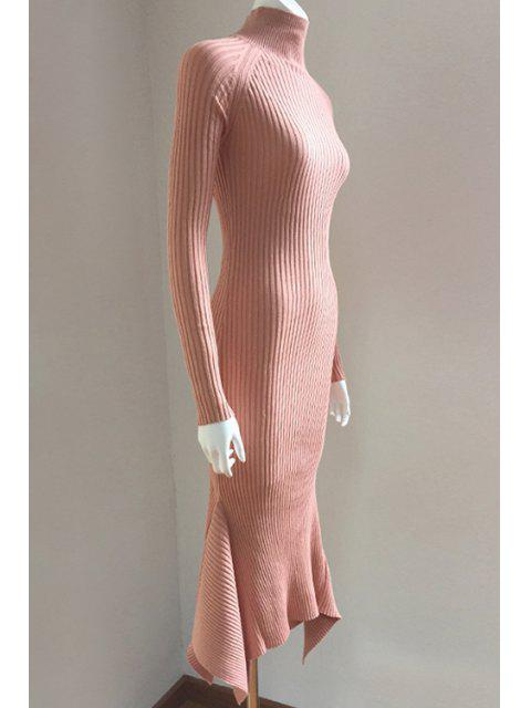 lady Lace Up Cut Out Solid Color Mermaid Dress - SHALLOW PINK M Mobile