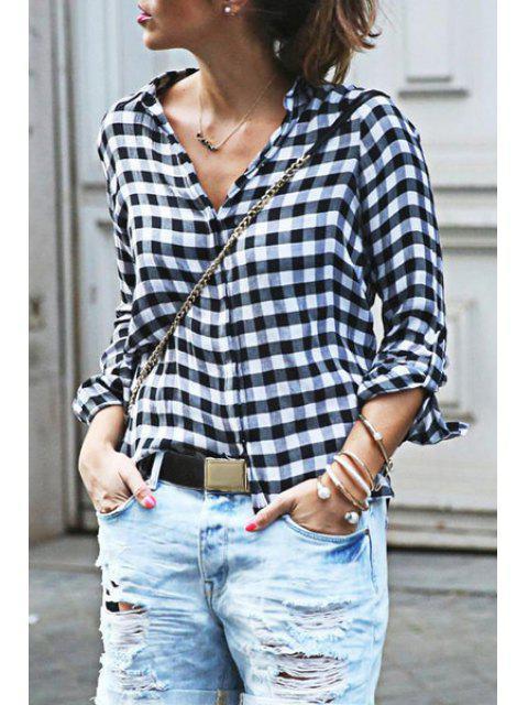 Chemise à manches longues V Neck - Blanc et Noir S Mobile