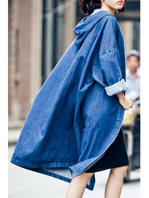women Denim Hooded Long Sleeve Loose Coat - BLUE ONE SIZE(FIT SIZE XS TO M) Mobile