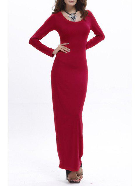 fancy Bodycon Scoop Neck Long Sleeve Maxi Dress - RED M Mobile