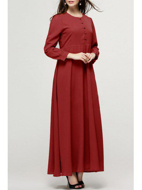 hot Single-Breasted Long Sleeve Maxi Dress - WINE RED L Mobile