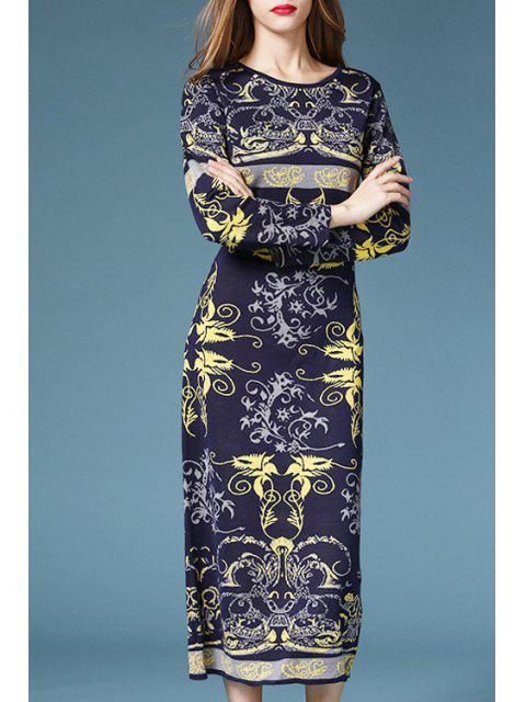 womens Vintage Pattern Long Sleeve Sweater Dress - PURPLISH BLUE L Mobile