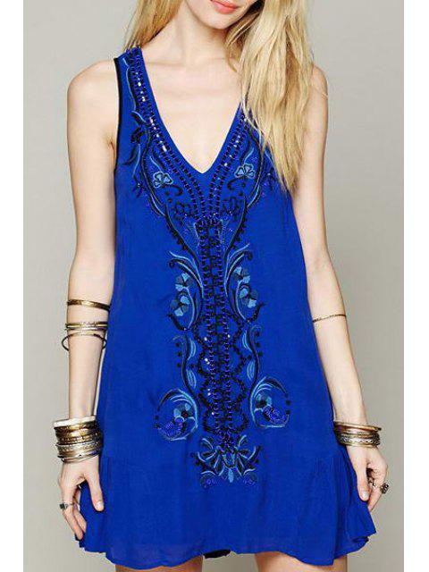 fashion Retro Embroidery Plunging Neck Tank Dress - BLUE L Mobile
