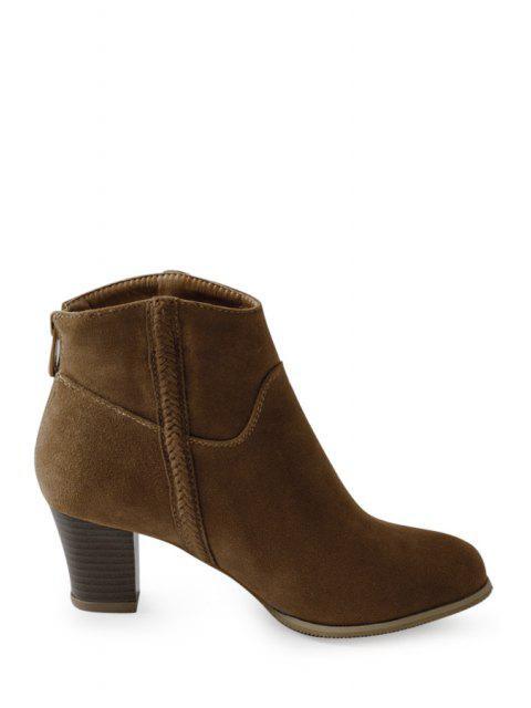 best Dark Color Chunky Heel Suede Short Boots - BROWN 37 Mobile