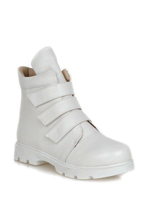 sale Solid Colour  Round Toe Short Boots - WHITE 37 Mobile
