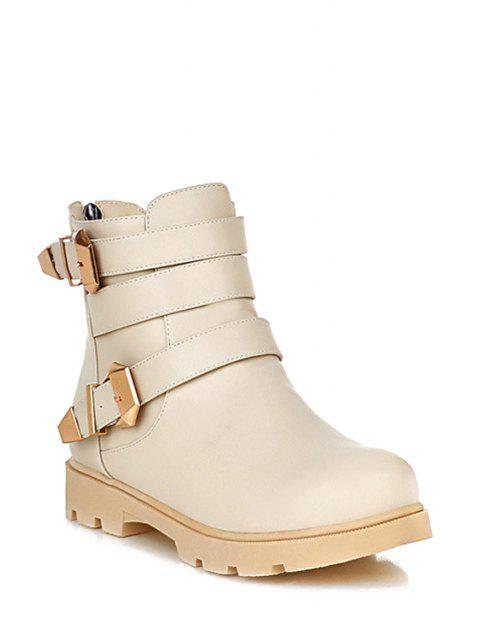 fancy Metal Buckles Solid Color Short Boots - OFF-WHITE 38 Mobile