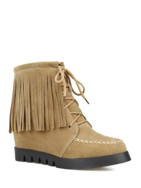 fashion Fringe Criss-Cross Hidden Wedge Short Boots - APRICOT 37 Mobile