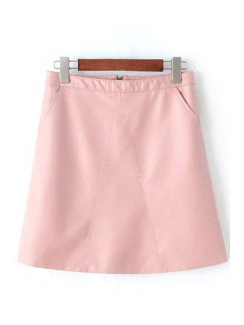 chic A Line Solid Color PU Leather Skirt - PINK M Mobile
