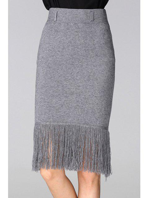 new Tassels Spliced High Waisted Slimming Pencil Skirt - GRAY ONE SIZE(FIT SIZE XS TO M) Mobile