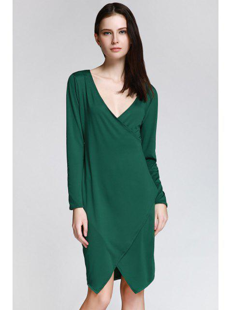 ladies Long Sleeve Overlap Bodycon Dress - GREEN L Mobile