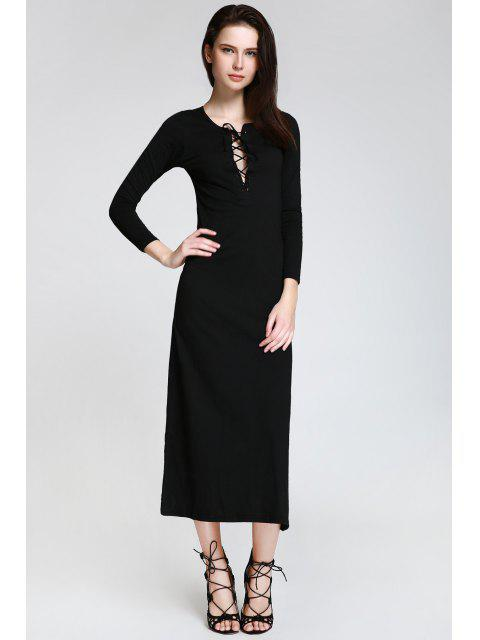 lady Plunging Neck Lace-Up Black Dress - BLACK S Mobile