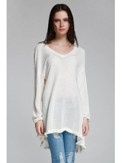 fashion Long Sleeve Cut Out Sweater - WHITE XS Mobile