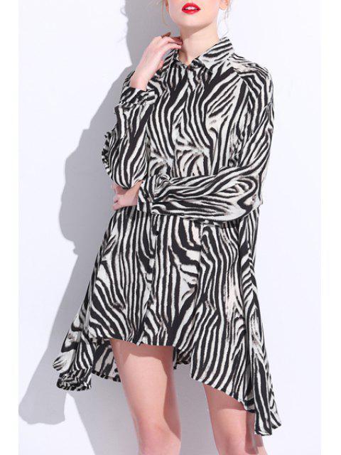 Imprimé léopard col de chemise en mousseline de soie lâche shirt Fitting - Léopard 3XL Mobile