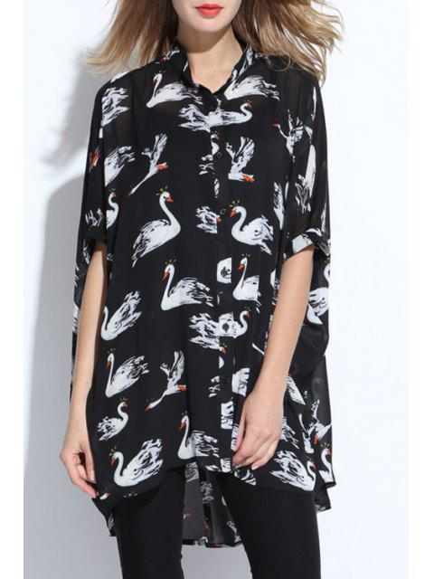 hot Swan Print Stand Collar Short Sleeve Chiffon Shirt - BLACK 2XL Mobile