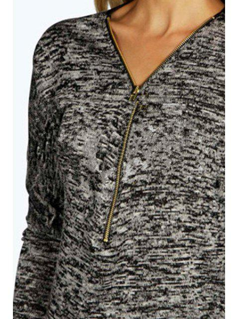 ladies Zipper V Neck Long Sleeve T-Shirt - BLACK XL Mobile