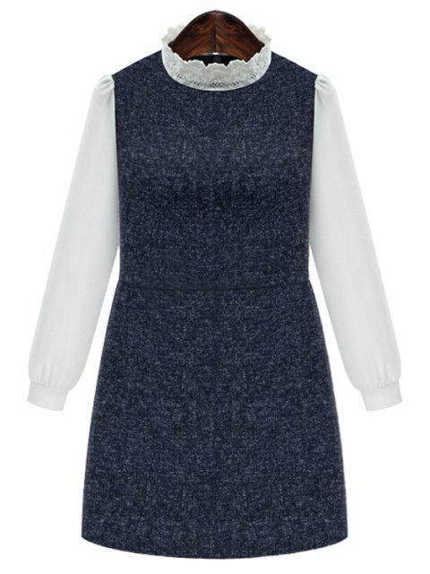 womens Chiffon Spliced Stand Collar Long Sleeve Dress - DEEP BLUE 3XL Mobile