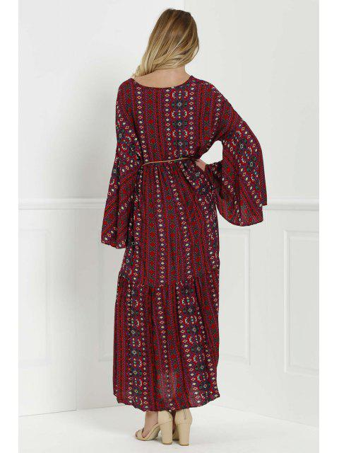 women's Bell Sleeve Tribal Pattern Print Dress - RED M Mobile