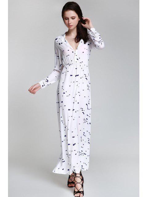 lady Ink Print Shirt Neck Long Sleeve Maxi Dress - WHITE M Mobile