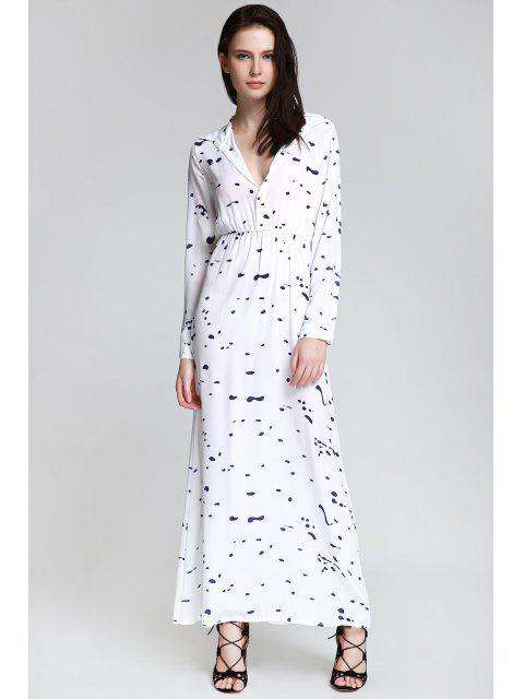 hot Ink Print Shirt Neck Long Sleeve Maxi Dress - WHITE XL Mobile