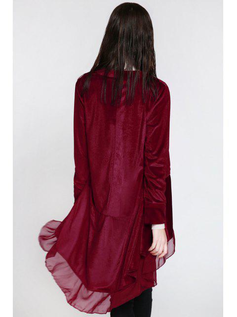 lady Swingy Velvet Long Sleeve Coat - CLARET L Mobile