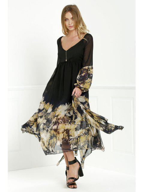 chic Long Sleeve Printed Maxi Chiffon Dress - BLACK S Mobile