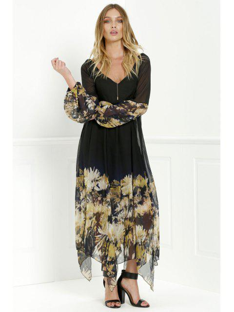lady Long Sleeve Printed Maxi Chiffon Dress - BLACK XL Mobile