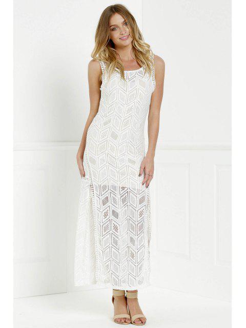affordable Hollow Back Openwork Lace Hook Slit Dress - WHITE M Mobile