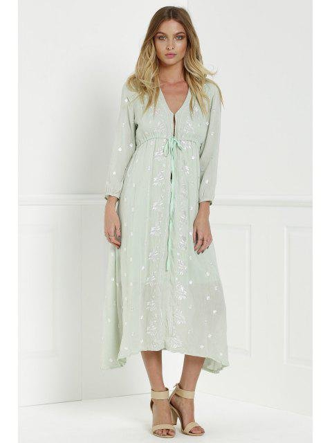 buy Midi Floral Embroidered Dress - SAGE GREEN L Mobile