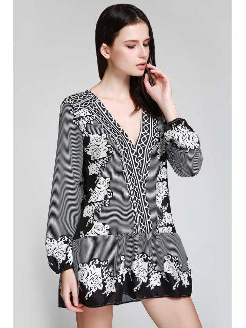 womens V Neck Striped Floral Flare Dress - BLACK M Mobile