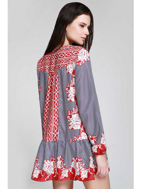 unique V Neck Striped Floral Flare Dress - CLARET L Mobile