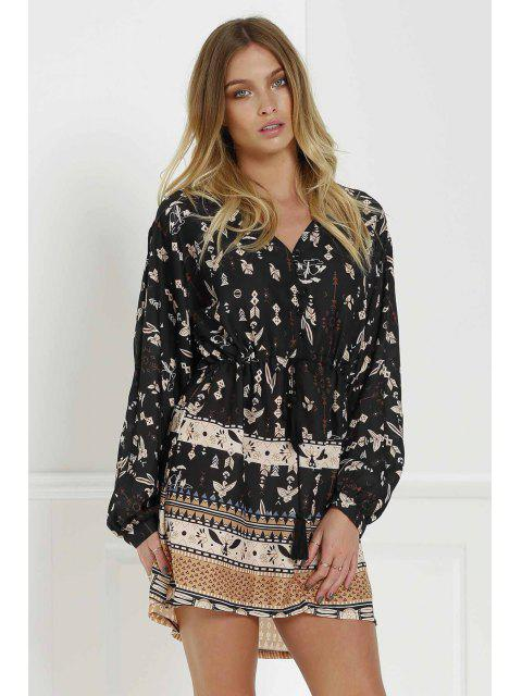 fancy Retro Print V Neck Long Sleeves Dress - BLACK M Mobile
