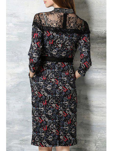 sale Lace Splicing Stand Neck 3/4 Sleeve Dress - BLACK XL Mobile