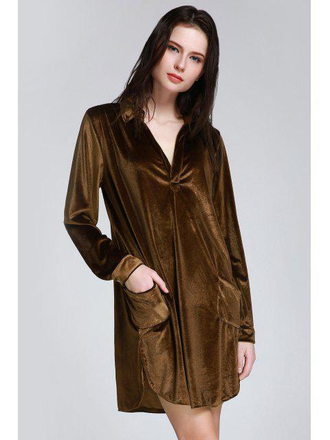 fashion Cozy Velvet Long Sleeve Shirt Dress - BROWN S Mobile
