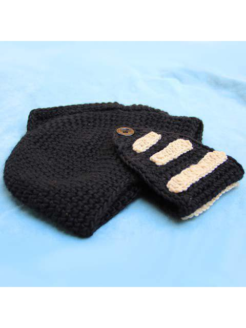 fancy Stylish Stripy and Button Embellished Knight Knitted Hat For Men - RANDOM COLOR  Mobile